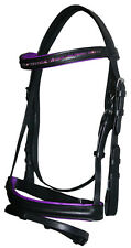 BRAND NEW FULL English Show Bridle PURPLE Crystal Browband Snaffle with Flash