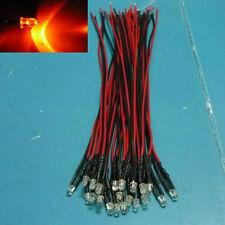 (20 PCS) Orange 3mm Pre Wired LED Light 5V 6V 9V 12V DC Bulb 20cm