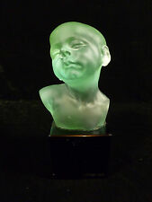 ORIGINAL SIGNED ROUBLEFF GREEN GLASS BUST OF A LITTLE BOY ON A MARBLE BASE