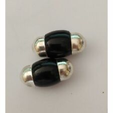 2 Beads/ Ethnic/ Bone / and / Metal / 20 x 35 mm / Col. Dark