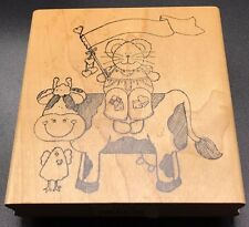 """Finders Keepers Mouse on a Cow with Flag Wood Mounted Rubber Stamp NEW 3.5""""X4"""""""