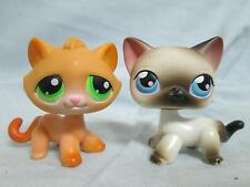 LPS Littlest Pet Shop Cats #110 Orange Tabby Green Eyes #5 Grey Siamese Blue