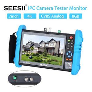 "SEESII 9800Plus 7"" 4K 1080P IP/CVBS Camera Tester Monitor CVBS PoE Test HDMI 8GB"