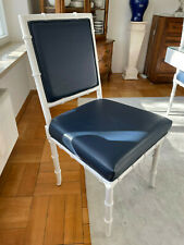 4 Esszimmerstühle, Stuhl, Holz/Kunstleder, weiß/blau, massiv, 50 x 50 cm
