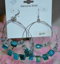 Genuine Shell Teal Beached Dangle Hoop Earrings Fashion Jewelry 80s Inspired
