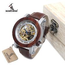 BOBO BIRD  K12 Man Bamboo Wooden Wristwatch Analog Automatic Mechanical Leather