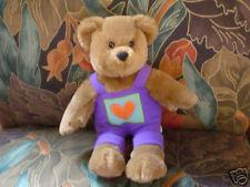 Hallmark Teddy Bear Purple Overalls With Heart 10 Inch