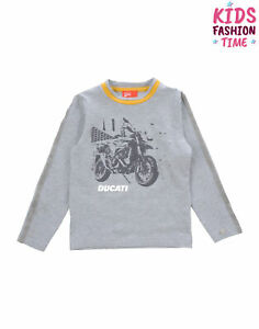 DUCATI T-Shirt Top Size 4Y Glued Motorcycle Front Long Sleeve Crew Neck