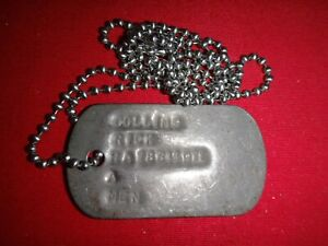 Military ID Dog Tag + Ball Chain Of A US Army Soldier Named COLLINS, RICK