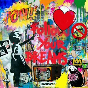 Hommage Mr. Street Art Banksy Dada 100x100 Acrylglas Follow u Dreams /Loft/Druck