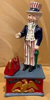 Vintage Mechanical Uncle Sam Cast Iron Bank   Beautiful Condition  Great Price