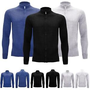 Mens Zip Up Ribbed Knitted Long Sleeve Sweater Outwear Jumper Warm Cardigan Top