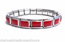 Red Enamel 9mm Italian Charm 18 Link Shiny Stainless Steel Starter Bracelet