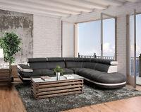 NEW Contemporary Living Room Furniture Gray Microfiber Sofa Sectional Set ICAO