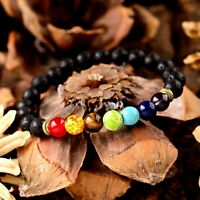 Men Women 7 Chakra Energy Yoga Reiki Natural Lava Stone Agate Diffuser Bracelets