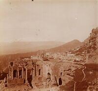 Italia Sicilia Taormina Théâtre Greco, Foto Stereo Vintage Placca Lente VR2L1n8