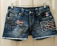 Miss Me signatu Patriotic flag Distressed Shorts. Size 27 Rise 7.5 Waist 15=30X3