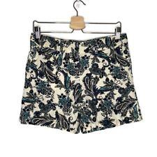 Ann Taylor LOFT Paisley Linen Blend Shorts Teal Cream Black Size 4 Stains