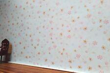 8111 - Tapete für´s Puppenhaus zart geblümt, Wallpaper, Puppenstube (Blu11)