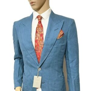 BNWT Tom Ford Shelton Hand Made Slim Linen Suit Steel Blue 38R W32 L33 RRP £3860