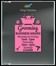 Grooming Pet Shop Custom Business Store Hours Window Decal Sticker Sign Door
