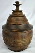 Lovely Antique Laburnum Wood Turned Treen Tobacco Jar in Great Condition!