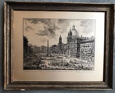 "PIRANESI 19TH C. ENGRAVING (REPRODUCTION)  PIAZZA FROM ""VIEWS OF ROME"" (1 OF 2)"