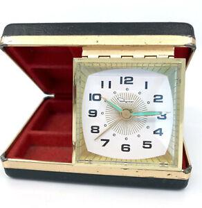 Ingraham Wind Up Travel Alarm Clock Jewelry Case c1960s Works Luminous Hands Vtg