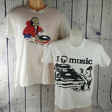 DJ Hip Hop Music Turntable Print 100% Cotton T-Shirt 2pcs Unisex Casual Wear