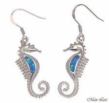 925 Sterling Silver Rhodium Hawaiian Seahorse Blue Opal Hook Wire Earrings