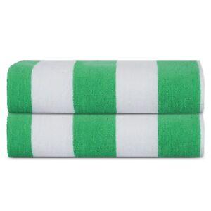 Premium Luxury Cotton Beach Pool Bath Towels 2 Pack Set, Cabana Green