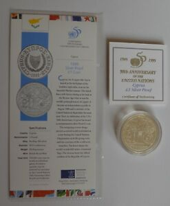 1995 Cyprus £1 One Pound Silver Proof  United Nations 50th Anniversary Coin