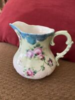 Vintage Porcelain Hand Painted Creamer With Pink/Green Floral