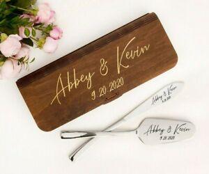 Wedding Cake Server Set Engraved Cake Knife & Server Personalized Cutting Set