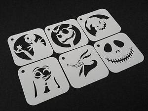 #1 Set of 6pcs NIGHTMARE BEFORE CHRISTMAS Style Jack Skellington Party Stencils