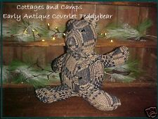 Primitive Antique Teddy Bear Blue homepsun Coverlet straw filled early 1900 AAFA