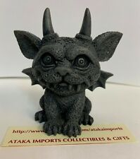 "3.25"" H Small Cute Gargoyle Grotesque Cat Guardian Figurine w Fang and Horn"