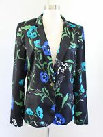 Calvin Klein Womens Black Blue Green Floral Print Blazer Suit Jacket Size 10