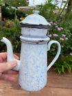 Biggin French Drip Blue Snow On The Mountain Coffee Pot enamelware graniteware