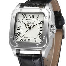 JARAGAR New Fashion Square Automatic Mechanical Calendar Men Leather Wrist Watch