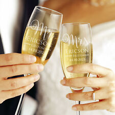 Bride Groom Personalised Engraved Wedding Toasting Champagne Glasses Flutes Gift