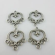 12pcs Tibetan Silver Earrins Heart Connectors Bail Charms Jewelry Making 21x19mm