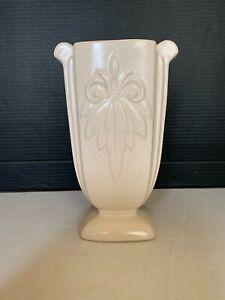 Vintage White McCoy Art Pottery 9 inch Pillar Vase