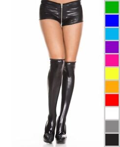 New Music Legs 5879 Wet Look Thigh High Stockings