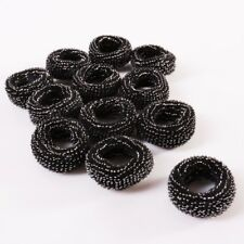 12 Black Elastic Bobbles | Silver Threaded Thick & Stretchy Sparkle Hair Bands