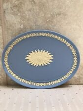 Rare Wedgwood Jasperware Primrose Yellow Pale Blue Floral Oval Collectors Tray