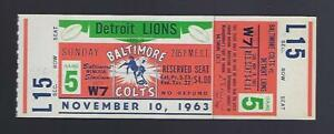 1963 NFL DETROIT LIONS @ BALTIMORE COLTS FULL UNUSED FOOTBALL TICKET