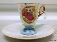 VINTAGE MADE IN JAPAN FOOTED TEA CUP AND SAUCER ENGLISH CHINA STYLE UNCLEANED