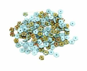 80pcs Gold Czech Glass Small Flat Forget-Me-Not Flower Spacer Bead Caps Beads...