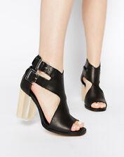 MIISTA EMMA SANDALS 37 Black Leather Lucite Wood Block Heels Anthorpologie Shoes